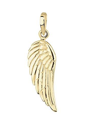 Elli Premium Anhänger Damen Anhänger mit Flügel Engel in 375 Gelbgold