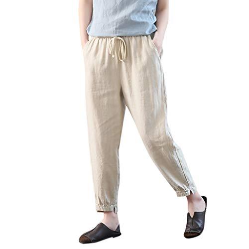 Crazboy Frauen beiläufige Feste Hosen Hosen Hosen Damen lose Hosen(Large,Beige)