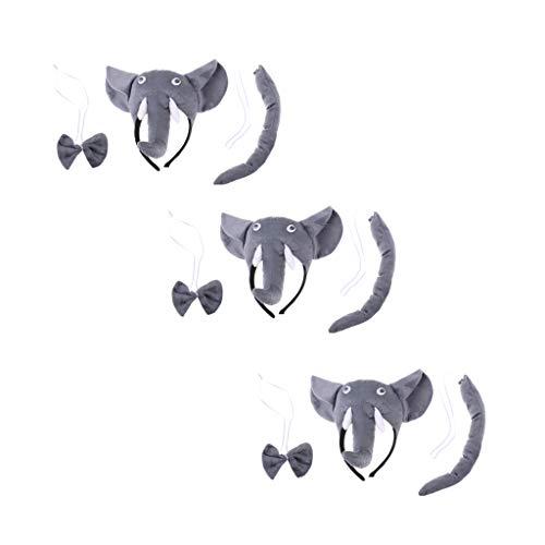B Baosity 3x Diadema 3x Cola 3x Pajarita Accesorios Disfraz Elefante Cosplay Fiestas de Disfraces Noche de Niños - gris, Única