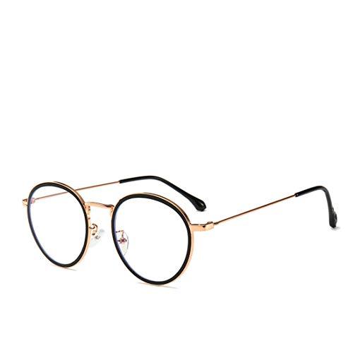 Mkulxina Anti-Blue-Brille aus Metallgestell mit runder Brille Unisex zum Lesen von Computern (Color : Gold)