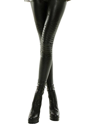 Shiny Leggings für Damen in Schwarz by Sassyclassy | Skinny-Leggings in Leder-Optik | Größe 40 | Stretch-Hose High Waist mit abgesteppten Biker-Knees | Hot Glanz PU-Lederleggings aus Kunstleder