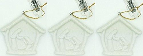 Christmas holy family, presepe, presepe in ceramica bianca ornamento set di 3