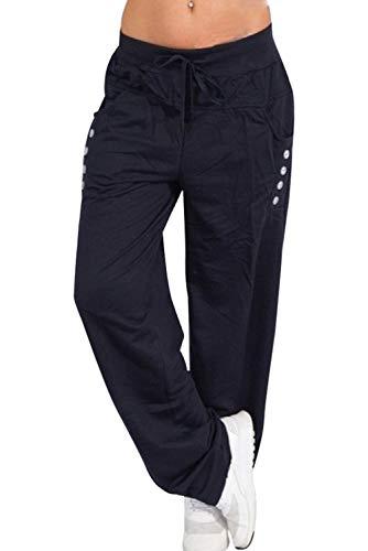 a81d88da7fb0 Landove Pantalone Tempo Libero Donna Moda Simpatici Pantaloni Dritti Larghi  con Tasche Laterali Leggins da Danza