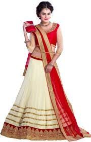 Purva Art Girls Beautiful Lace Border Lehenga Choli With Dupatta Set (14_Off_White_Net_lehenga_Choli_Color_Red_Off...