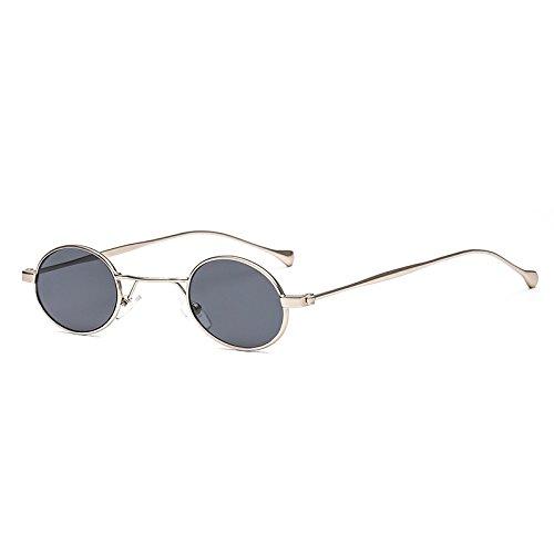 SUNGLASSES New Street Fashion Small Frame Brille Europa und den Vereinigten Staaten Metall Mode Sonnenbrillen (Farbe : Silver Box Gray)