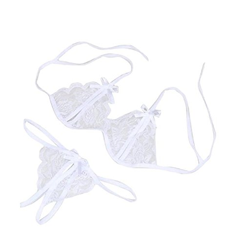 Lingerie,WINWINTOM Donna Lace Lingerie Pizzo Baby-Doll Set Biancheria Da Notte G-String (bianco)