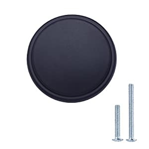 "AmazonBasics Modern Wide Top Ring Cabinet Knob, 1.52"" Diameter, Flat Black, 25-Pack"