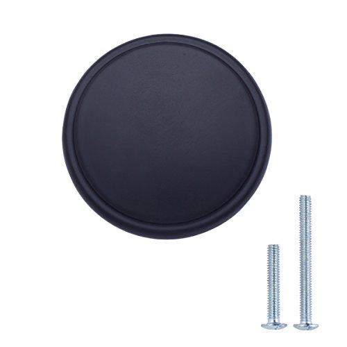 AmazonBasics - Schubladenknopf, Möbelgriff, modern, mit großer runder Platte oben, Durchmesser: 3,85 cm, Matt-Schwarz, 10er-Pack