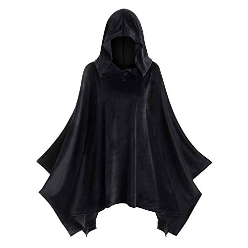 Mann Mountain Kind Kostüm - mounter- Halloween-Umhang für Damen, massives Vintage-Design, mit Kapuze, Ghost Outfits, Schwarz - Schwarz - Größe: Medium