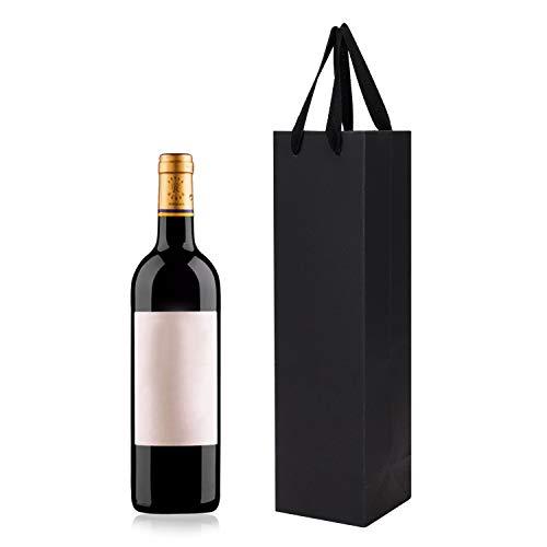 Geschenktüten für Wein, Champagner, Papier, Weinflasche, Geschenktüten mit Griff, für Geburtstag, Hochzeit, Party, Jahrestag, Feier, 10 Stück 3.5x3.5x13.5''(9x9x35cm) Black Single Bottle Gift Bags