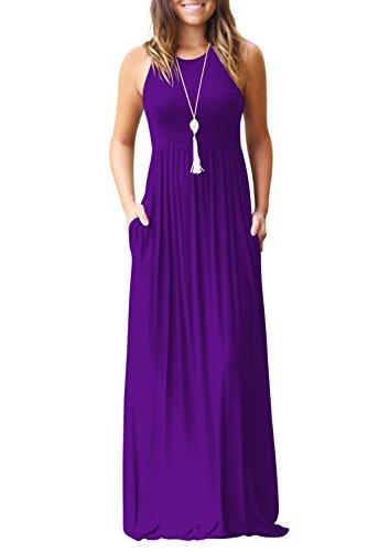 Bequemer Laden Damen Rundkragen Ärmellos Partykleid Casual MaxiKleid mit Taschen Lila-M - Plissee-jacke