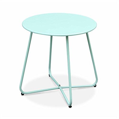 Alice's Garden - Table Basse Ronde – Cecilia Vert d'eau – Table d'appoint Ronde Ø45cm, Acier thermolaqué.
