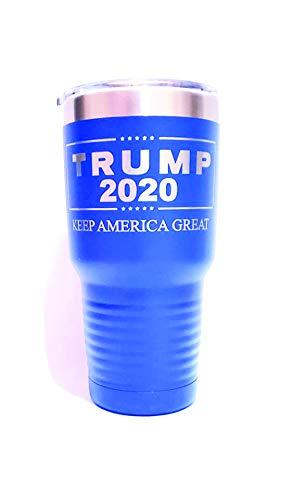 Widder Laser Designs Trump 2020 Keep America Great - graviert auf 30 oz. Trinkglas, Edelstahl, Vakuumisoliert, beidseitig graviert, Blau Design Tumbler