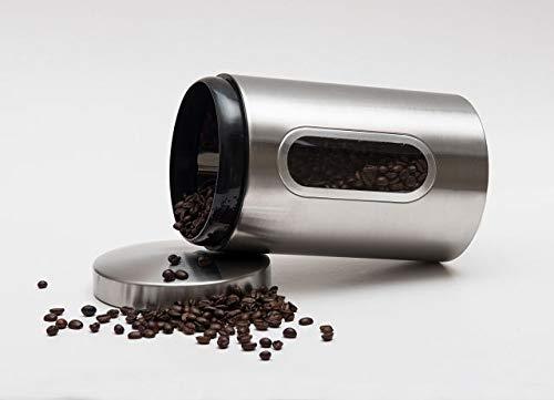 Original Küchenzeit Kaffeedose - Stylische Vorratsdose aus Edelstahl mit Sichtfenster - Luftdicht zu verschließen für volles Aroma