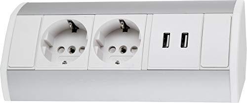 Aufbau Aluminium Steckdosenleiste 2-fach + 2x USB Lade-Buchse - horizontal + vertikal - 230V 3680W - weiß-silber -