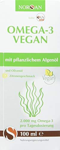 Veganes Omega-3 I Norsan I umweltschonend hergestellt I Algenöl Vegan I 100ml Flasche I 2.000mg Omega-3 pro Portion I Zitronengeschmack