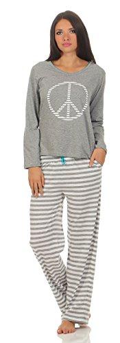 Hond Frauen Schlafanzug Gr. L - 44/46 Oberteil Grau melange Motivdruck, Hose Streifen grau melange