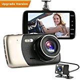 Autokamera Dash Cam, Gemwon Full HD 1080P Zweikamerasystem 170° + 120° Weitwinkel Autokamera mit 3,7 Zoll IPS Bildschirm, Beschleunigungssensor, Bewegungserkennung, Parkmodus