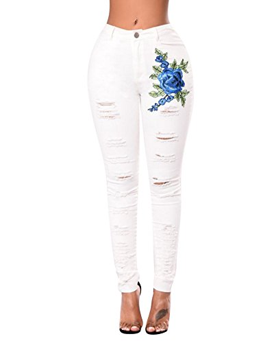 Jeans Boyfriend Donna Denim Pantaloni Strappati Jeggings Push Up Bianco