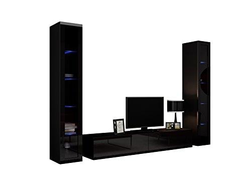 Wohnwand VIGO V Anbauwand Modernes Wohnzimmer set, Mediawand, Glasvitrine, Hängeschrank TV-Schrank (mit RGB LED Beleuchtung, Schwarz / Schwarz Hochglanz)