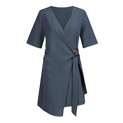 Haludock Damen beiläufige V-Ansatz halbe Hülsen-hohe Taillen-unregelmäßige lose Minikleid-Prinzessin Dress