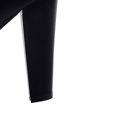 VogueZone009 Damen Eingelegt Hoher Absatz Reißverschluss Stiefel Schwarz