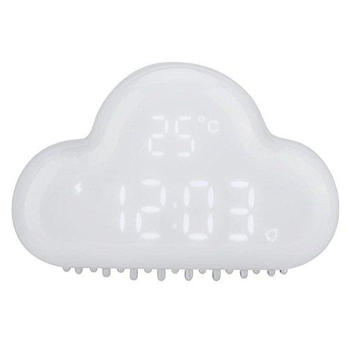 VBESTLIFE Despertador LED Reloj de Alarma Magnética en Forma de Nube Reloj Alarma de Temperatura Digital Calendario Activación de Voz(Negro)