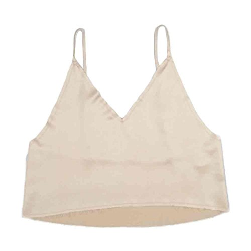 Tonsee Caraco femme Tops Sexy V cou court Backless Ladies Vest Kaki