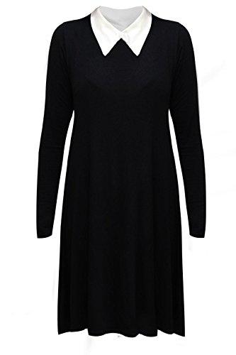 Janisramone Da Donna A Maniche Lunghe Peter Pan Tinta Unita Elasticizzato Loose maglia Swing Plus Size abito Black XL (52-54)
