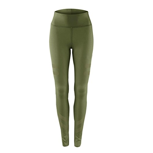 Koly_Alte donne della vita Leggings Yoga Fitness Corsa pantaloni Palestra Stretch Sport Pantaloni (Verde, M)
