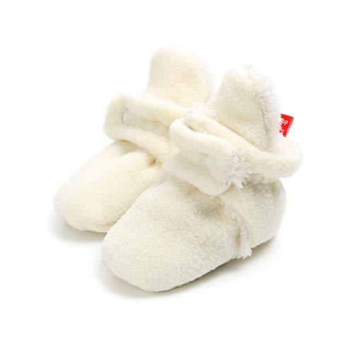 AUPUMI Unisex-Baby Neugeborenes Fleece Booties Bio Baumwoll-Futter und Rutschfeste Greifer Winterschuhe (0-6 Monate, Weiß) - Täglichen Baby Bootie
