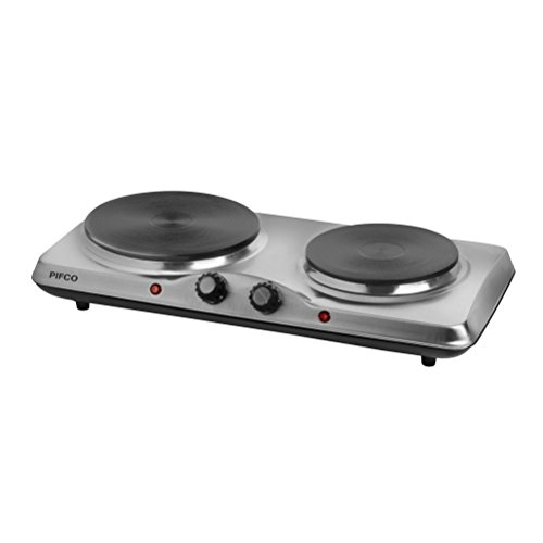 31kq8YRVhqL. SS500  - Pifco Stainless Steel Double Boiling Ring, Adjustable Thermostat, 2 x Iron Plates, Non-Slip Rubber Feet, 1500 W, Stainless Steel