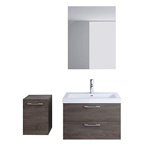 Meuble de salle de bains ensemble de 4-pièces, meuble sous vasque , vasque 76,5cm,miroir et rangement complémentaire gauche Bavaria
