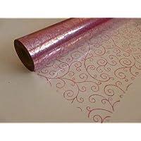 Preisvergleich für 25 Meter x 80cm kirschrot Blättern Wirbel Design Druck - kirschrot Aufdruck auf durchsichtige Cellophan Film Geschenkverpackung...