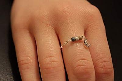 Bague chaine argent et perles diamantées