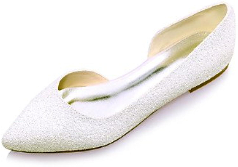La Mujer Primavera Verano Otoño Glitter Wedding Party &Amp; Noche Talón Plano Blanco Marfil Negro Bajo 1De Marfil
