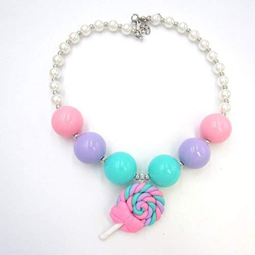 LKJH HalsketteKinder Mädchen Chunky Perlen-Halskette Lollipop Hängende Halskette Kleinkind Bubblegum Halsketten-Geschenk-Schmucksachen Für Kinder