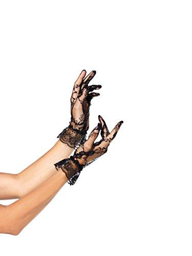 Fingerlose Kostüm Handschuhe Schwarze Spitze - Leg Avenue - Spitzen-Handschuhe in Handgelenklänge mit Rüsche. - Schwarz - One Size - G1260