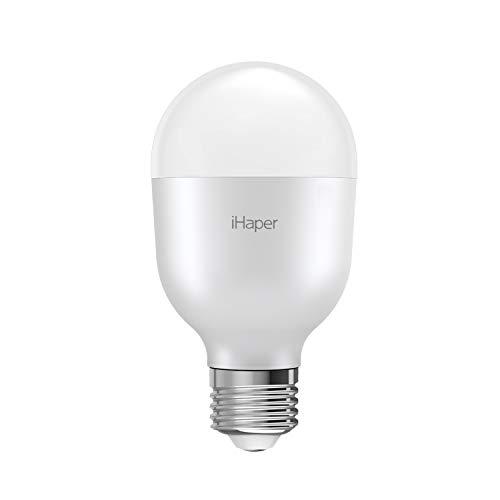 iHaper B2 Lampadine LED Intelligente WiFi - E27 Lampadina Dimmerabile, 3000K, 7W, Luce Bianca, Funziona con Apple HomeKit, Alexa e Google Assistant, Nessun Hub Richiesto (Solo per iOS)