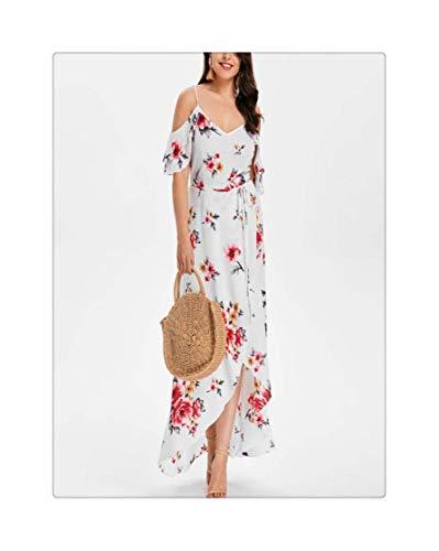 FJLOKE& Women's Long Dress Plus Size Women Casual Short Sleeve Cold Shoulder Boho Print Flower Long Dress Vestido Korean Version White XL