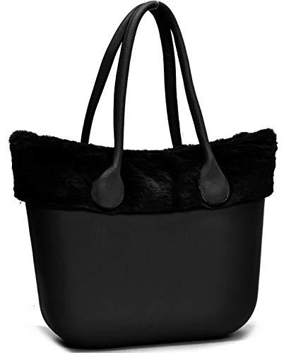 Borsa bag spalla donna fantasia silicone manici sacca scocca completa ricamati bordo pelliccia pelo smontabile (nero)