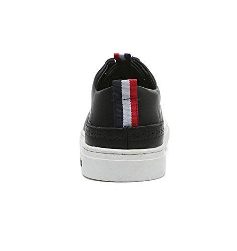 New England Männer Casual Schuhe atmungsaktiv flache runde Leder Spitze niedrige Männern zu helfen, Black