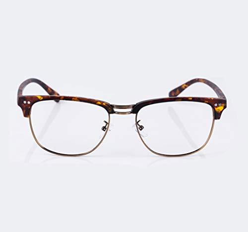 ZJEXJJ Große Rahmen Lesebrille Herrenmode Bequeme Anti-Blue presbyopic Brille Strahlung einfachen HD-Spiegel (Farbe : Brown, größe : 1.5X)