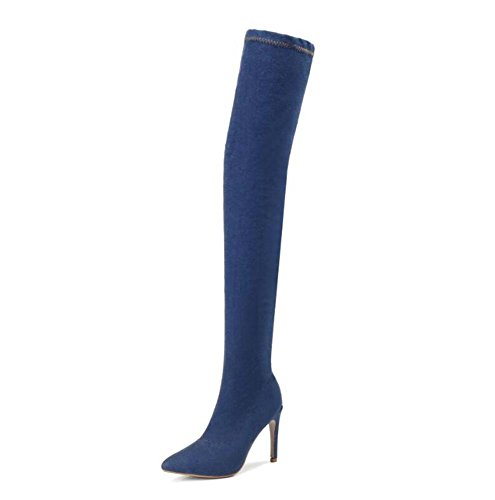 ef42f562f52 Women Thigh High Boots Skinny Jeans Tall Boots Charming Pointed Toe Denim  Elastic Cloth Zipper Dress - £57.43