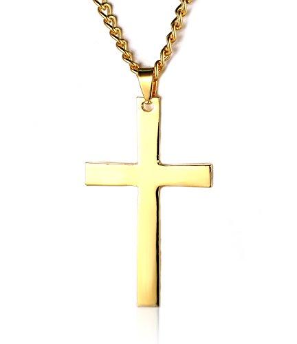 Halukakah Männlich Titan Stahl Kreuz Anhänger Halskette Spiegel Polnisch Fertig Golden mit O Kette 24