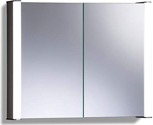 Armoire de toilette pour salle de bain avec miroir lumineux, antibuée, prise pour rasoir, détecteur de mouvement et éclairage LED 65cm(H) x 80cm(l) x 16cm(P) C13