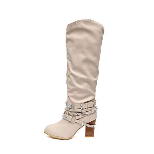 Damen Stiefel Leder Plateau High Heel Schlupfstiefel Hoch Langschaftstiefel mit Blockabsatz Winter Schuhe Ankle Chelsea Boots 6Cm Schwarz Grau Braun Gr.35-43 BG36