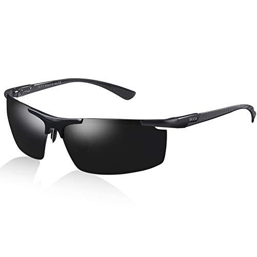 DUCO Herren Polarisierte Sonnenbrille mit Metallrahmen und Kohlefaser Brille Beine 8207 (Schwarz Rahmen Grau Linse)