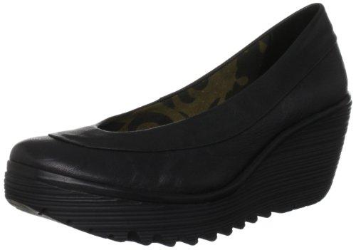 Fly London Women's Yoko Wedge Court Shoes - Black Mousse, 5 UK