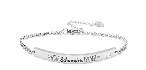 """Silvity Damen Gravur-Armband Edenlstahl veredelt mit einem Swarovski¨ Kristall Motiv:""""Beste Schwester der Welt"""" 16,5 cm bis 20,5 cm Frabe: Silber"""